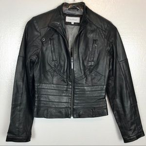 Calvin Klein Leather Jacket Moto Styling Black